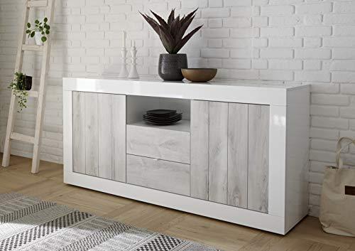 Mobile contenitore 2 ante 2 cassetti moderno bianco lucido ante con serigrafia pino bianco soggiorno madia buffet con sportelli design urbe 07