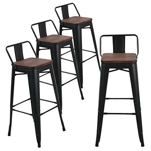 Taburete de bar de metal para interiores y exteriores (4 unidades) 30 pulgadas Low Back Black Wooden