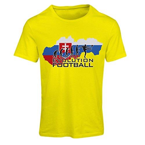 Champ Fitted T-shirt (Frauen T-Shirt Evolution Football - Die slowakische Nationalmannschaft (Small Gelb Mehrfarben))