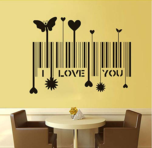 Kreative Ich Liebe Dich Barcode Schmetterling Herz Blume Vinyl Wandaufkleber Paar Dekoration Abnehmbare Aufkleber Wanddekor 59x45 cm