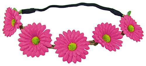 Blumen Haarband mit Margeriten - Pink