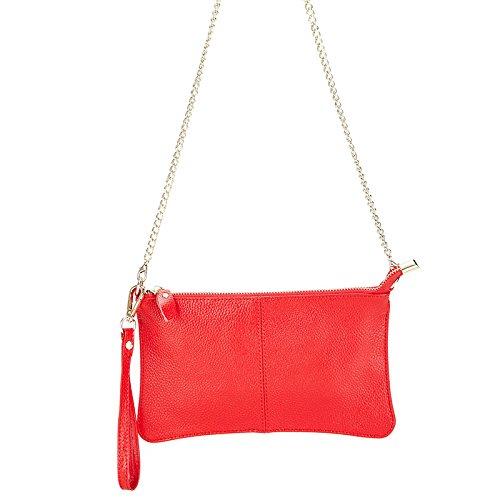 Mefly Dünne Hand Leder Tasche Einfache Klassische Handtasche Bright red