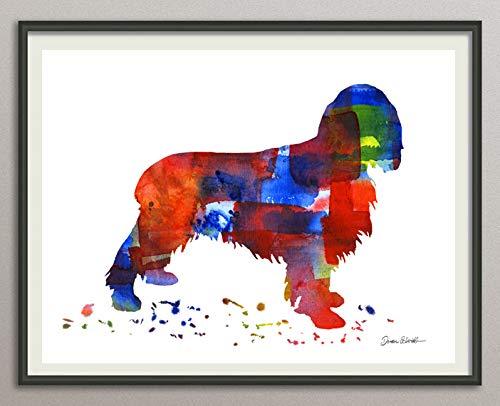 field spaniel Rasse Hunde Hunderasse Fine Art Print Aquarell Silhouette Profil Poster Kunstdruck Plakat modern ungerahmt DIN A 4 Deko Wand Bild -