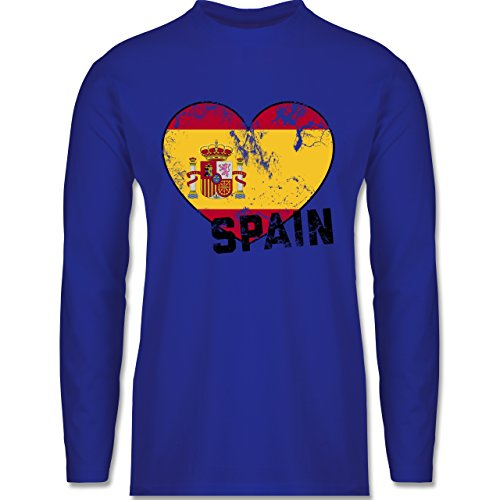 Shirtracer Fußball-WM 2018 - Russland - Spain Herz Vintage - Herren Langarmshirt Royalblau