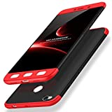 #6: GKK Full Protection 360 Degree Back Cover Case for Redmi 4 by Designer Hub (Red + Black)