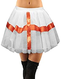 Crazy Chick New Women's White England Cross Tutu Skirt Ladies Fancy Dress, Royal Wedding Dance Party Skirt