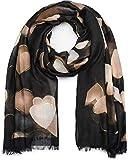 styleBREAKER Sciarpa da donna con motivo a cuori e frange, sciarpa invernale, stola, foulard 01017084, colore:Nero