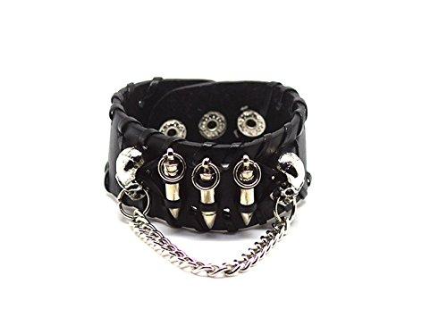 Ultra Schädel und Kugeln Leder Goth Steampunk Stil Armband Handgelenk Manschette Armbänder Gothic Goth emo Cyber Vintage Stil Biker Rock Adult Teens