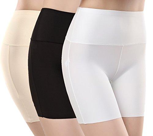 TRISTIN Womens High Waist Boxer Briefs Soft Underwear 3-Pack Black/Beige/White Silk&Spandex Stretch Boy Shorts