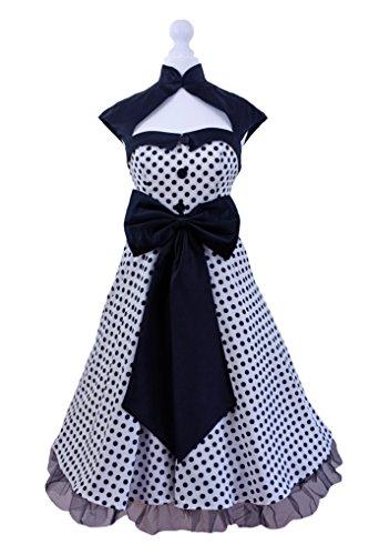 Vintage Années 5060's Swing Noir Blanc Rouge Polka Dot Robe Soirée Rétro Rockabilly Taille UK 8–24 Blanc