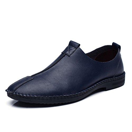 Hommes Chaussures Mocassins en Cuir PU Souple Plat Léger Respirent Semelle Antidérapant Loisir Derby slip-on Bleu