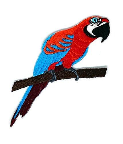 Red Parrot Cartoon bestickt Nähen Eisen auf Patch Cartoon Nähen Eisen auf bestickte Applikation Craft handgefertigt Baby Kid Girl Frauen Tücher DIY Kostüm Zubehör