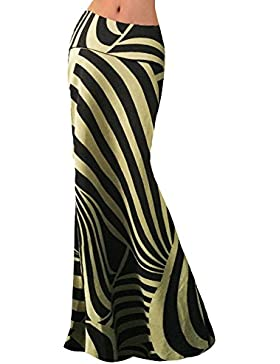 Falda Larga de Cintura Alta Rayas Elegante Maxi faldas para Mujer M 1