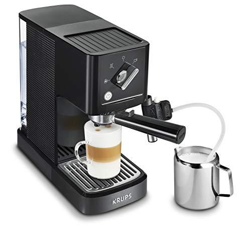 Krups Calvi Latte XP345810 cafetera espresso con accesorio para capucchino,15 bares de presión, sistema de regulación térmica, capacidad de 1 litro, selección manual mayor control del resultado final