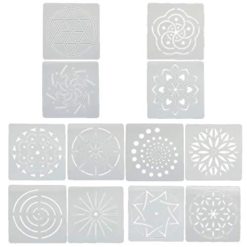 YXJD 12pcs Mandala Schablone Malschablonen Punktierung Werkzeug DIY Vorlage Muster für Mandala Art Leinwand Malerei auf Holz Wänden