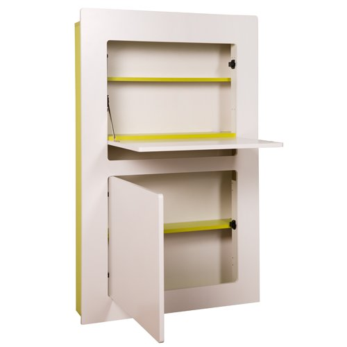 PHOENIX 806203GRW Workstation Milano in weiß mit grün,  81 x 128,5 x 20 cm, mit einer Klappe, Türe und Kabeldurchführung innen