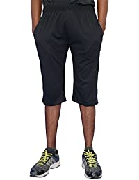 ELK Mens's Black Cotton Three Fourth Capri Shorts Trouser Clothing Set
