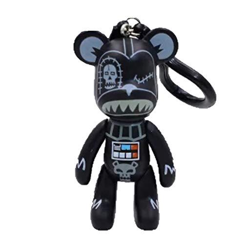 Darth Vader Bär, 7,6 cm, Sammlerstück, Schlüsselanhänger, Taschen-Anhänger, Popobe Medicom Bearbrick Teddy Kawaii Star Wars Jedi, Schwarz/Silber/Weiß -