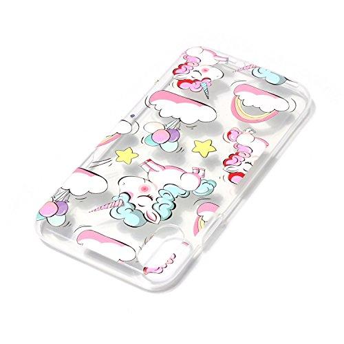 iPhone X Hülle, Voguecase Silikon Schutzhülle / Case / Cover / Hülle / TPU Gel Skin für Apple iPhone X(Eule Campanula 02) + Gratis Universal Eingabestift Regenbogen Einhorn 04