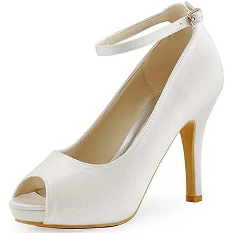 ElegantPark HP1543I Donna Tacco A Spillo Con Plateau Cinturino Alla Caviglia Peep Toe Satin Scarpe Da Sposa