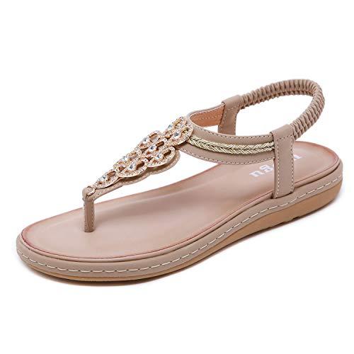 Mädchen Schuhe Flache (Sandalen Damen Sommer Flip Flops Bohemian Flach Zehentrenner mit Strass Größe 36-42)