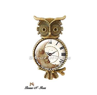 Bague Le temps d 'un rêve cabochon gris montre chouette hibou bronzeNroses