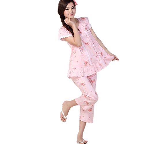 DMMSS Ladies 'Homewear Vestito Di Cotone Stampa Cute Bowknot Manica