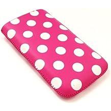 Emartbuy Polka Dots Pink / White PU-Leder-Tasche / Case / Sleeve / Halter (klein) mit Pull Tab Mechanismus für Sony Ericsson Zylo