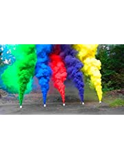 VR CREATIVES Small Size Holi Smoke Fog Air Gulal Set of 5 Pieces Color Powder (Red, Blue, Pink, Yellow, Orange,)