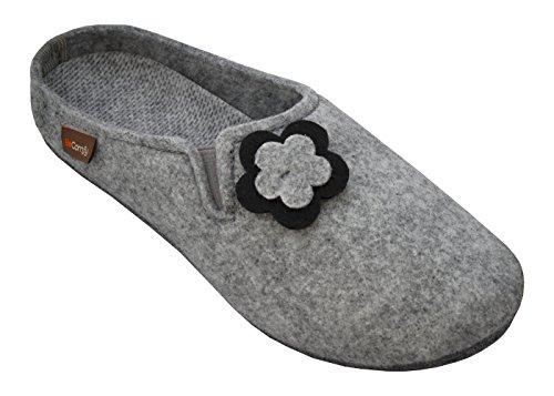 BeComfy Feltro Pantofole da Donna Feltro & Gomma Suola Motivo Floreale o Liscio 36-42 EU (41 EU, Fiori-Feltro Suola)