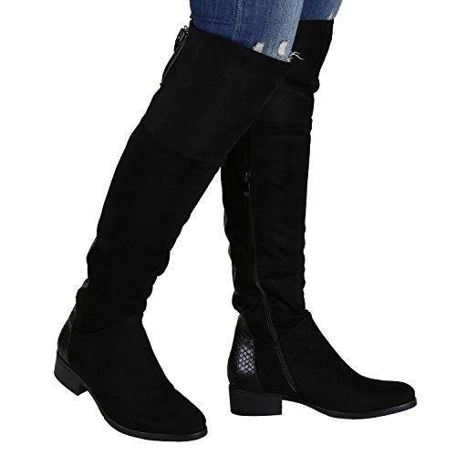Stiefelparadies Damen Stiefel Overknees Flandell Schwarz Snake