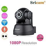 Sricam IP Kamera Wlan Überwachungskamera Netzwerkkamera ONVIF IP Cam, 720P Pan/Tilt, Baby Monitor 2 Weg Audio, IR-CUT, Nachtsicht, H.264, Bewegungsmelder Schwarz