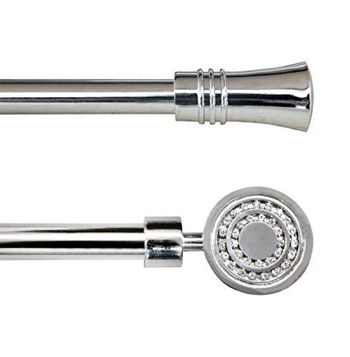 Emmevi bastone tenda estendibile 120-210 cm acciaio cromato finiture in brillanti asta 16 anelli mod.bastone tenda cromo campanella