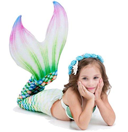 Brinny Meerjungfrau Flosse Zum Schwimmen Kinder Mädchen Meerjungfrauenflosse Meerjungfrauenschwanz mit Flosse - Grün 135cm