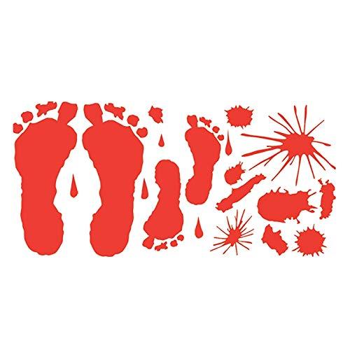 Junlinto Halloween Blutige Hand Fuß Drucken Aufkleber Wand Dekoration Ornament Party Supplies