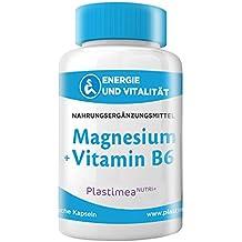 MAGNESIUM + VITAMIN B 6 : Optimale Kombi – Marines Magnesium (55% Magnesiumelemente) – Gegen MÜDIGKEIT, für MUSKELN & NERVEN – hochdosierte Kapseln, OHNE Stearate – Herstellung HACCP+ – 4-Monatsvorrat