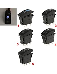 Tradico® 12V/24V Push Button Rocker Switch Blue LED Light 5-Pin On-Off Zombie