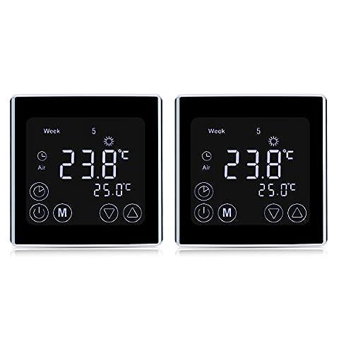 2 x Floureon BYC17.GH3 Thermostat Raumthermostat LCD Display Wandthermostat Touchscreen mit Weiß Backlight Digital Smart Programmierbares Heizkörper-Thermostat für Fußbodenheizung