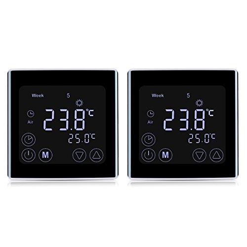 2 Stück Digital Thermostat Heizung Raumthermostat Wandthermostat Smart Programmierbares Heizkörper-Thermostat für elektrische Fußbodenheizung Touchscreen LCD Display