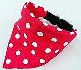 Hundehalstuch als Halsband optional mit Wunsch Namen bestickt rot Punkte Halstuch Tuch