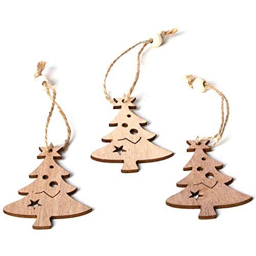 Viesky 3 Stück/Set Vintage Weihnachtsstern Anhänger mit Seil Perlen Ornamente Holz DIY Basteln Hängen Baum Party Deko Geschenk -