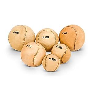 Vinex Robuster, runder Medizinball aus Leder mit 2 Panelen 1 kg bis 6 kg
