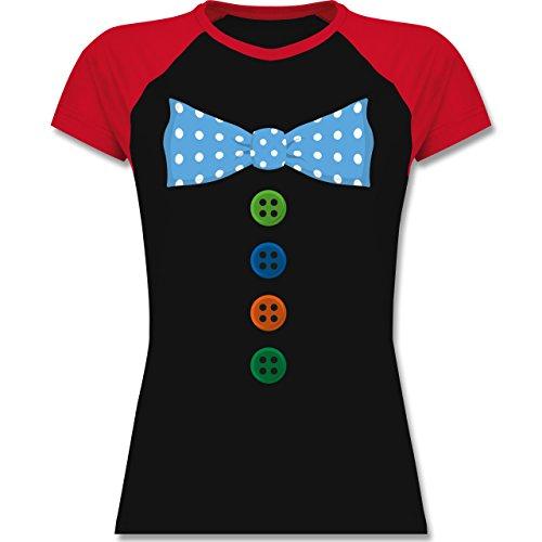 Shirtracer Karneval & Fasching - Clown Kostüm Blaue Fliege - Zweifarbiges Baseballshirt/Raglan T-Shirt für Damen Schwarz/Rot