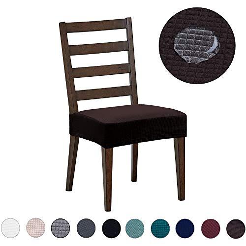 DEZENE Fundas para sillas de Comedor (Paquete de 2): Repelente al Agua, fácil de Instalar, Muy elástica - Silla de Comedor Funda de Asiento/Protector para Mascotas de Perros y Gatos,Chocolate