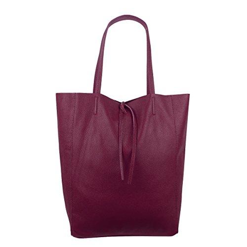 Damen Echtleder Shopper mit Innentasche in vielen Farben Schultertasche Henkeltasche Metallic look Bordeaux