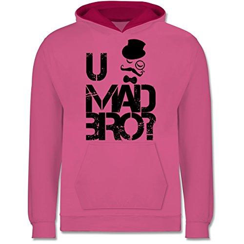 Shirtracer Up to Date Kind - U MAD BRO? - 7-8 Jahre (128) - Rosa/Fuchsia - JH003K - Kinder Kontrast Hoodie