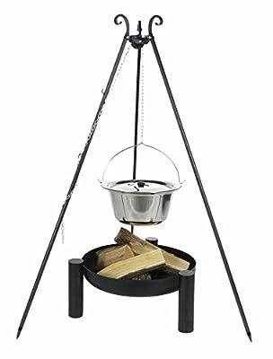 Kingdiscount® Gulaschkessel-Set mit Edelstahlkessel 14 L, Deckel, Feuerschale 60 cm und Dreibein 180 cm