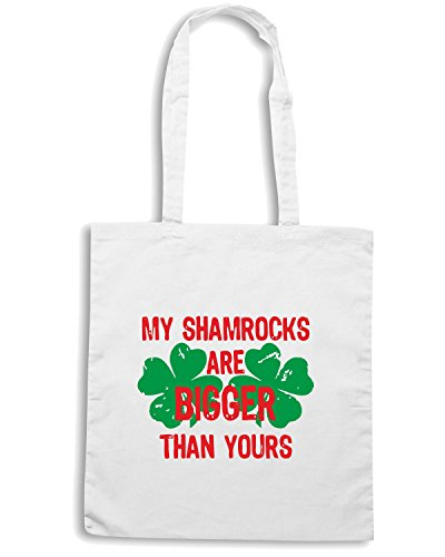 T-Shirtshock - Borsa Shopping TIR0156 my shamrocks are bigger white tshirt Bianco