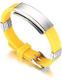 Vnox Pulsera del pun ¢ o de la pulsera de la identificación del silicón del acero inoxidable de la manera de las mujeres de los hombres,amarillo