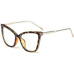 BOZEVON Moda Retro Fiesta Ojo de Gato Gafas Mujer Oversize Transparente Clásico Gafas de Sol, Leopardo/Transparente